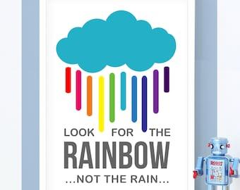 Rainbow Print, Kids Decor, Kids Prints, Nursery Art, Multi color, Rainbow, Quote, Kids Wall Art, Childrens Wall Art, Positive Quotes, Color