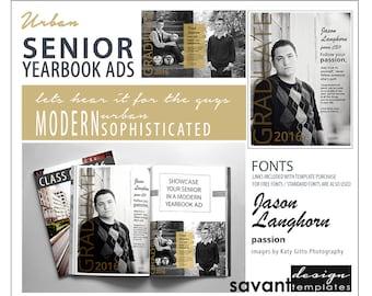 Yearbook Ads, Senior Graduation, Photoshop Templates, Urban Senior, Magazine style, High School Yearbook Ad for Senior Photographers