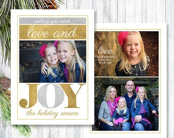 Christmas Card Template - Photoshop Template - Family Christmas Holiday Card - Gold Joy Christmas Photo Card - CC68 - INSTANT DOWNLOAD