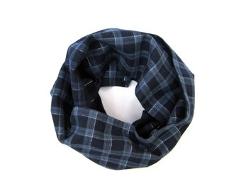 Blue Plaid Scarf, Kid Clothes, Toddler Scarf, Infinity Scarf, Boy Scarf, Girl Scarf, Unisex Scarf, Bib Scarf, Gift for Kids, Ready to Ship