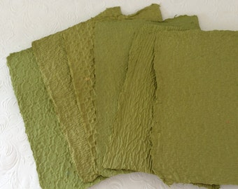 Handmade Paper - avocado green - textured - recycled - Eco friendly
