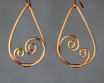 Tear drop Scroll hoop Rococo earring handmade US free shipping Anni Designs