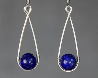 Sterling silver wiring lapis teardrop earrings Bridesmaid gifts Free US Shipping handmade Anni designs