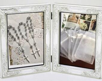 "20 min rosaries and 20 pcs Organza bags, 4"" x 6"" organza bag , favor bag ,  white organza bag silver rosarie color"