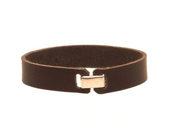Plain leather bracelet,  5/8 inch wide with metal clasp