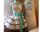 Mr. and Mrs. Custom Bridal Aprons, Accented In Robin's Egg Blue...Perfect Bridal Shower Gift
