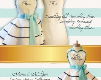 Bridal Apron Accented In Robin's Egg Blue, Featuring Custom Personalization Of Your Choice...Perfect Bridal Shower Gift