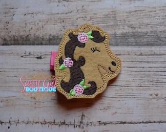 Girls Hair Accessories -Farm Animal-Hair Clip -Embroidered Boutique Horse with Flowers- Felt Hair Clippie -No Slip Grip