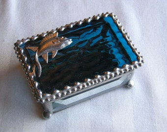 Stained Glass Jewelry Box|Fish|Fish Jewelry Box|Fish Trinket Box|Ocean Blue|Jewelry|Jewelry Storage|Fish Design|Handcrafted|Made in USA