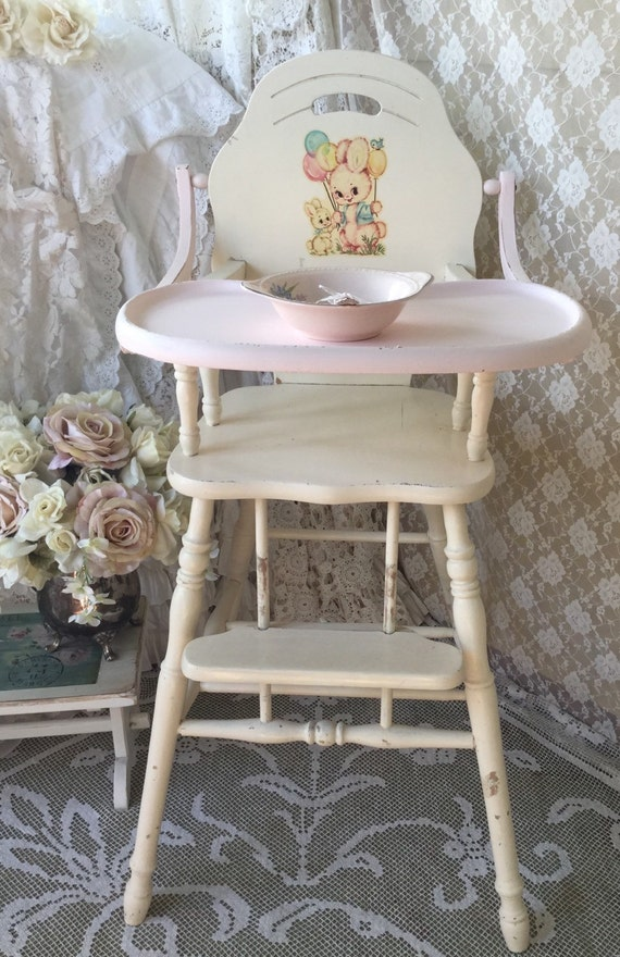 Reserved shabby white vintage wooden high chair baby chair jenny lind