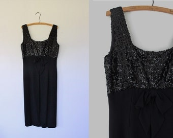 Vintage 1960s Black Mod Mini Dress Black Sequins Empire Waist Medium Large Cocktail Party 60s Little Black Dress Prom