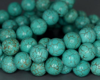 10mm Turquoise Howlite Gemstone Grade A Round Loose Beads 7.5 inch Half Strand (90186148-742)