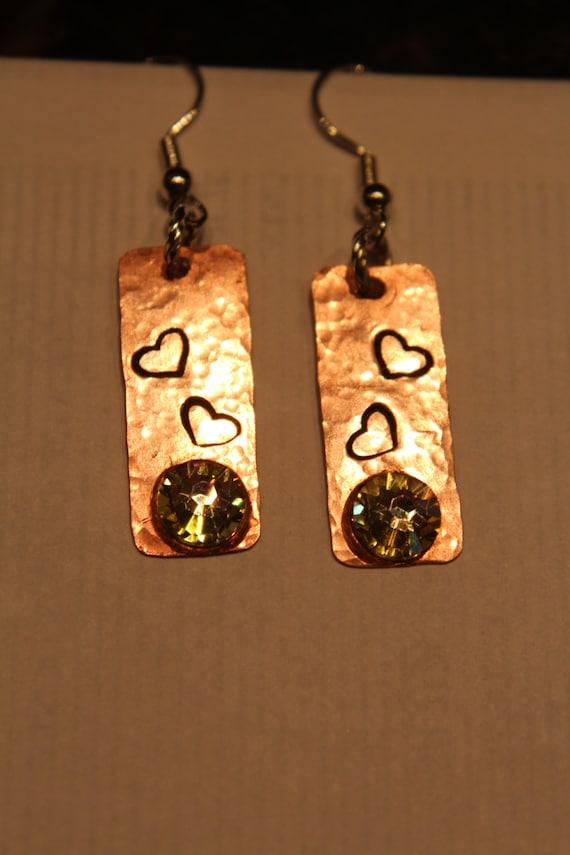 Copper Earrings, Handmade, Heart Stamped, Silver custom Made Bohemian Beauties Recycled Copper bohemian Beauties