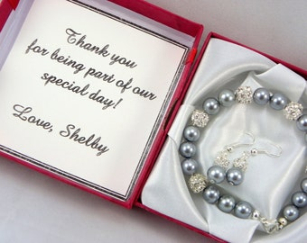 Bridesmaid Gift, jewelry set pearl Bracelet And Earrings with note -card Bridesmaid Pearl Bracelet Wedding Jewelry, bridesmaid jewelry set