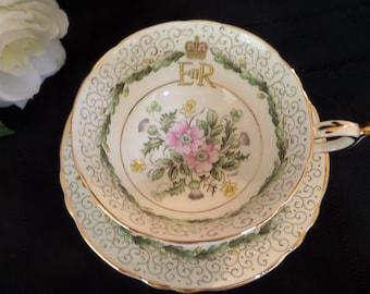 Paragon Tea Cup --Commemorative -- Q E II Coronation 1953 -- Cup and Saucer -- English Teacup -- Collectible