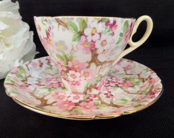 Shelley Tea Cup -- Maytime Chintz -- Old Cambridge -- English Tea Cup -- Cup and Saucer