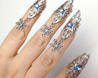 Snowflake claws - winter nails - set of 5