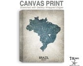 Brazil Map Stretched Canvas Print - Home Is Where The Heart Is Love Map - Original Personalized Map Print on Canvas