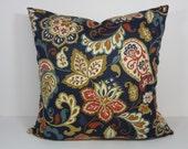 Paisley Red, Gold, Navy Blue Designer Pillow Cover, Mill Creek Fabrics Pillow Cushion, 20 x 20