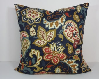 Paisley Red, Gold, Navy Blue Designer Pillow Cover, Mill Creek Fabrics Pillow Cushion, 20 x 20