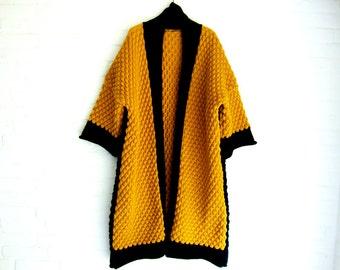 FREE SHIPPING***Knitted Long Cardigan Handmade Shawlcollar Ocher Black Warm Winter Coat Plus Size Outerwear Winterwear Sweater