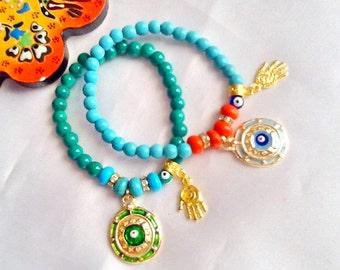 SALE--Turkish evil eye amulet bracelets with Hamsa , middle eastern evil eye and Hamsa bracelet , bohemian gypsy amulet bracelets