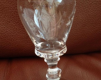 Vintage/ Art Deco Moon & Stars hand etched small drinking glass