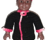 "8"" Doll Clothes Crocheted Minnie Mouse Hat in variegated pink & Crocheted Coat"
