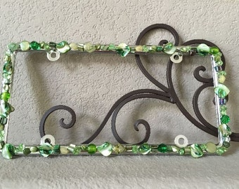 Bling License Plate Frame Shades of Green Mother of Pearl and Crystal Beaded #A244142183
