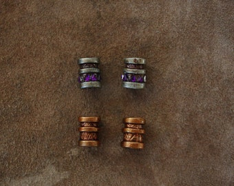 silver/copper/purple Dwarf/Viking/Cosplay/LARP  hair/beard/moustache beads set of 4