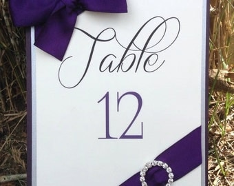 Plum and Silver Wedding Table Number