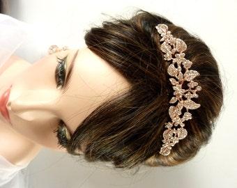 Wedding Bridal Tiara Hair Comb - Rose Gold Plated Pearl Rhinestone Crystal Flower Wedding Hair Accessories Bridal Tiara Hair Jewelry
