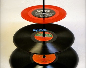 3 tier RED Vinyl Record Cupcake Stand Retro Cake Stand Red and Green