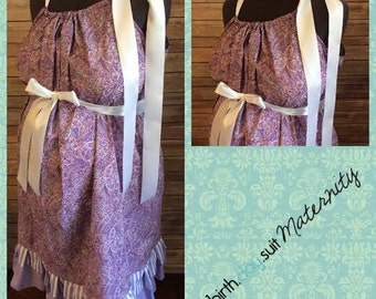 Maternity Hospital Gown: Purple Paisley, Striped Double Ruffle