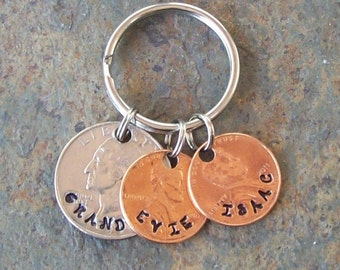 Grandpa grandma keychain custom personalized family coin keychain key chain keyring made of US quarter and penny coins. Gift from the kids.