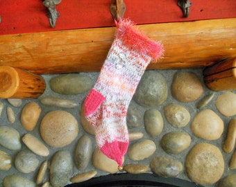 Diva Pink Variegated Knit Christmas Stocking with Large Rhinestone Buttons