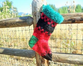 Red and Black Beauty Mohair Christmas Stocking, Bright and Colorful