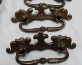 vintage drawer pull set original metal 2.5 on center architectural salvage