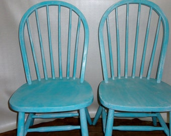 Wood Chair Farmhouse beachy blue dining chairs cottage chic