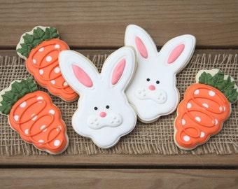 Easter Basket Treats / Easter Egg Hunt Prizes / Easter Sugar Cookies / Bunnies and Carrots Sugar Cookies - 12 cookies