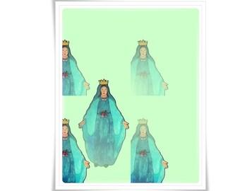Modern Catholic Art Holy Mary Painting Art Poster Illustration Religious Meditation Decor Contemporary Blue Mint Teal