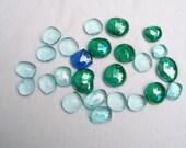 "25 Mixed Blue GLASS GEMS Iridescent Sea Cobalt Aqua 3/4"" - 1"" Stained Glass Mosaic Floral Craft Mixed Media"