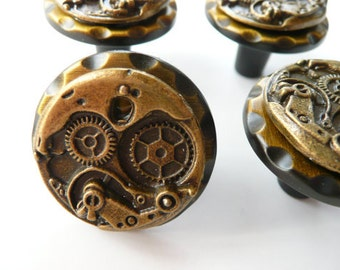Steampunk Watch Movement Cabinet Knobs - Many Color Options - Price Per Knob