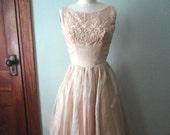 Vintage Party Dress, Reception Dress, Bridesmaids Dress, Size 4, 1950s Vintage, Retro Party Dress, Sleeveless Dress, Beige Blush, Cocktail
