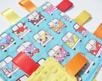 Taggie Blanket Mint VW Camper Van Fabric Yellow Minky toddler comforter Lovey taggy