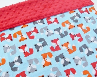 Baby Boy Blanket - Baby Foxes - Super soft Minky - Baby Shower Gift Idea