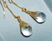 POOLS Of LIGHT Earrings NaTURAL Rock Crystal Quartz Smooth Genuine Orbs Vintage Art Deco Style Gold Pltd Free USA Shipping