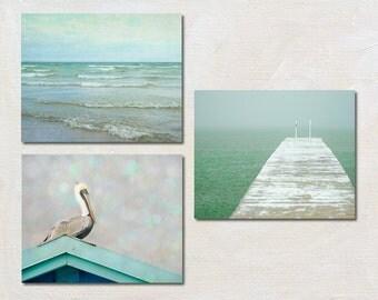 Mint Ocean Photography Set, Three Photo Set, Coastal Wall Art Set, Pelican Photography, Beach House Decor, Seaside Picture Set, Nature Print