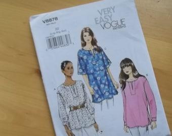 Uncut Vogue 8878 Sewing Pattern - Lrg - Xxl - Misses Tunic