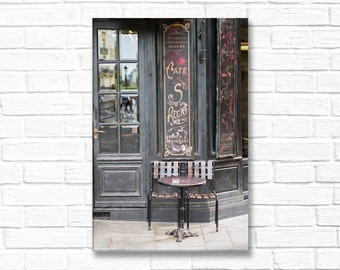 Paris Photography on Canvas - Cafe St. Regis, Gallery Wrapped Canvas, French Home Decor, Sidewalk Cafe,  Kitchen Decor, Large Wall Art